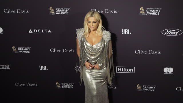 bebe rexha at the recording academy and clive davis' 2020 pre-grammy gala at the beverly hilton hotel on january 25, 2020 in beverly hills,... - the beverly hilton hotel stock videos & royalty-free footage