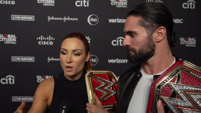 interview becky lynch and seth rollins on gender equality here and at the wwe at 2019 global citizen festival at central park great lawn on september... - great lawn stock videos and b-roll footage