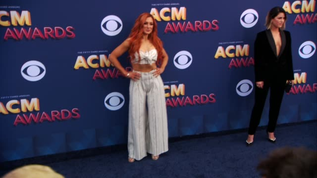 becky lynch at the 53rd academy of country music awards at mgm grand garden arena on april 15 2018 in las vegas nevada - academy of country music awards stock videos & royalty-free footage