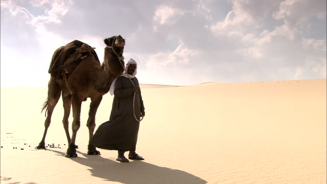 a bedouin with a camel gives directions to a traveler. - nomadic people stock videos & royalty-free footage