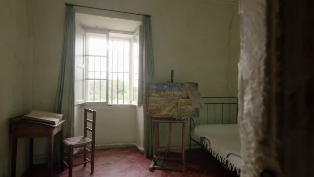 bedroom associated with van gogh, france - psychiatric hospital stock videos & royalty-free footage