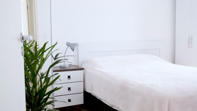 bedroom with a double bed - double bed stock videos & royalty-free footage