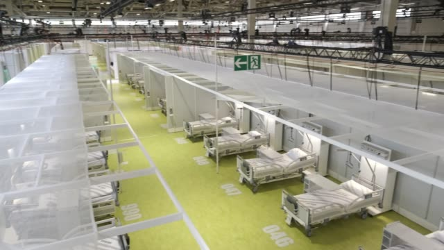 beds stand ready for patients at the jaffestrasse corona treatment center during the coronavirus crisis on may 19, 2020 in berlin, germany. the... - bed stock videos & royalty-free footage