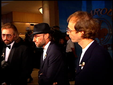 bee gees at the carousel of hope gala at the beverly hilton in beverly hills, california on october 25, 1996. - the bee gees bildbanksvideor och videomaterial från bakom kulisserna