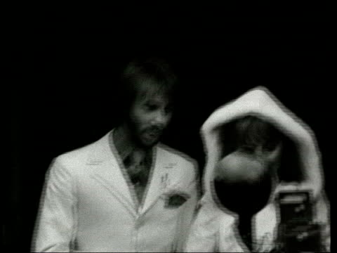 maurice gibb has heart attack; lib london: cms b/w maurice gibb and former wife lulu on their wedding day - celebrities video stock e b–roll