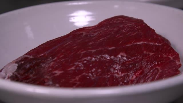 beef rump to cook tteok-galbi(grilled short rib patties) - raw food stock videos & royalty-free footage