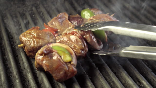 Beef Shish Kebab on a Fiery Grill with Onion and Bell Pepper