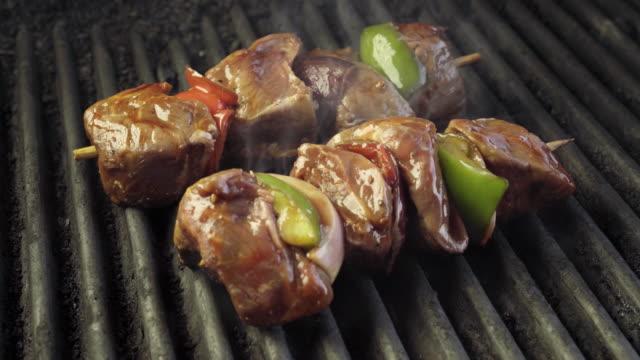 Rundvlees Shish Kebab op een vurige Grill met ui en paprika