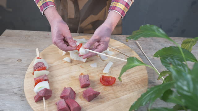 beef skewer with onion and tomato - skewer stock videos & royalty-free footage