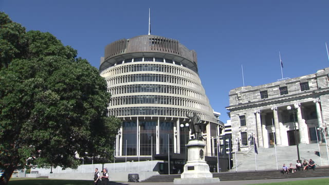 beehive and parliament buildings, wellington, new zealand. - government stock videos & royalty-free footage