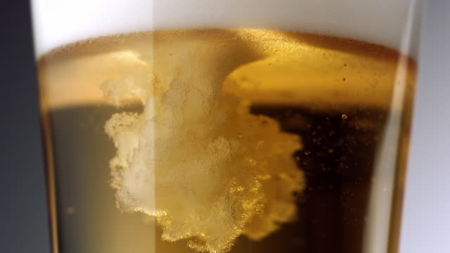 vídeos de stock, filmes e b-roll de cu tu slo mo beer being poured into beer glass / new york city, new york, usa   - cerveja
