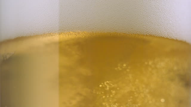 ecu slo mo beer being poured into beer glass / new york city, new york, usa   - 飲み物の泡点の映像素材/bロール