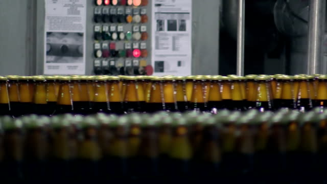 Beer bottles on conveyer belt in factory