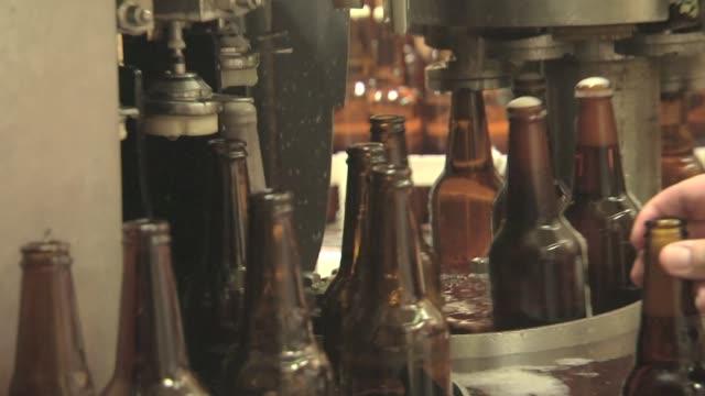 beer bottles on production line - beer bottle stock videos & royalty-free footage