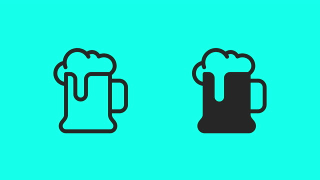 vídeos de stock e filmes b-roll de beer mug icons - vector animate - beer alcohol