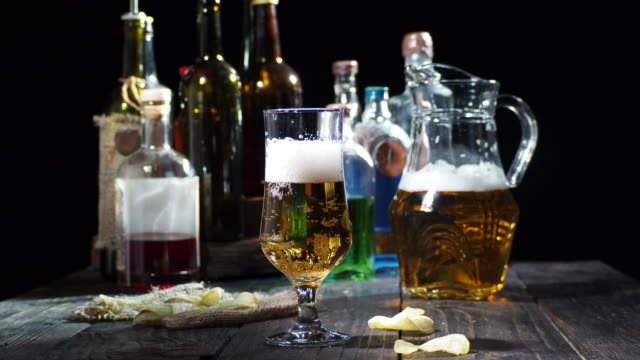 beer on the bar counter - pint glass stock videos & royalty-free footage
