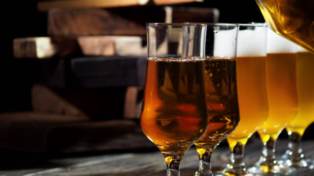 beer on the bar counter - pitcher jug stock videos & royalty-free footage