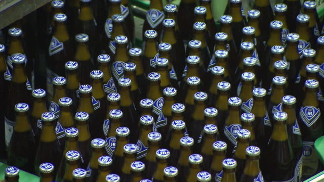beer production, bottles are pushed