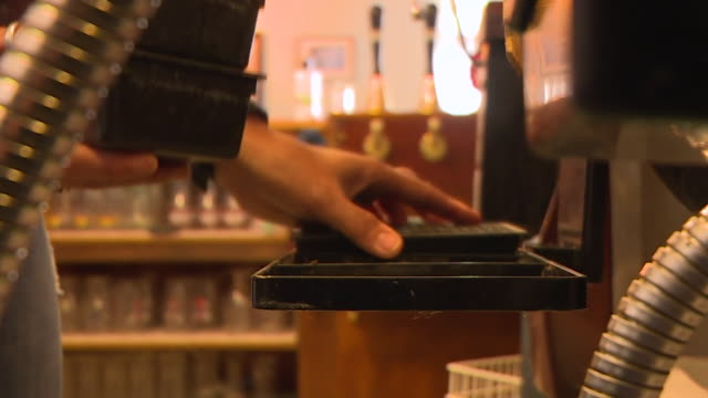 beer tap trays being put in place as pubs prepare to reopen after the coronavirus lockdown - utensil stock videos & royalty-free footage