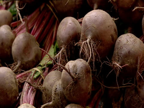 beetroot, carrots and artichokes on display in shop - beet stock videos & royalty-free footage