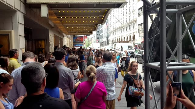 before a performance of the broadway musical hamilton two days prior to creator lin manuel miranda's departure from the show, fans wait in line to... - hamilton new york state stock videos & royalty-free footage