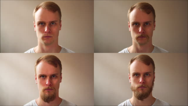 before and after, facial beard cut, man face fast transformation - barba peluria del viso video stock e b–roll