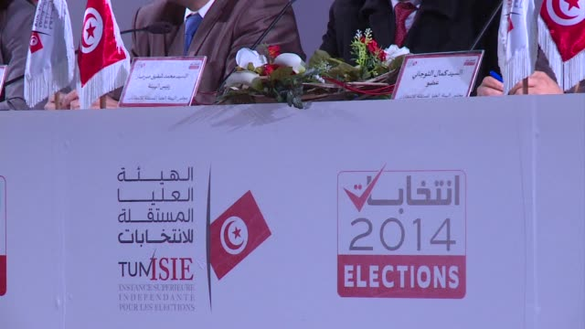 stockvideo's en b-roll-footage met before he second round of the tunisian presidential election sunday the electoral commission held a press conference on thursday to encourage... - mogelijk