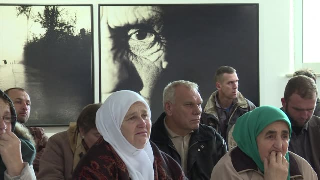 before his life sentence was announced relatives of the srebrenica massacre victims tearfully watched proceedings at the hague as judges talked... - ratko mladic stock videos & royalty-free footage