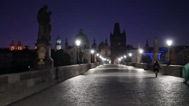 before sunrise at charles bridge at prague, czech - cobblestone stock videos & royalty-free footage