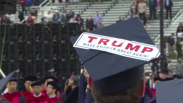 before us president donald trump gave a speech saturday at liberty university's commencement ceremony graduating students at the evangelical... - christianity stock videos & royalty-free footage