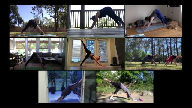 vídeos de stock e filmes b-roll de beginner yoga class taught online - imagem em movimento
