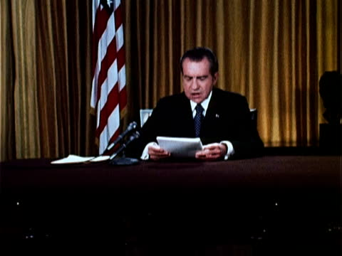 vídeos de stock, filmes e b-roll de beginning of nixon's speech defending his office against watergate charges, partial text includes, 'in recent months, members of my administration... - 1973