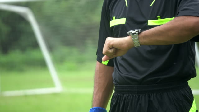 vídeos de stock e filmes b-roll de beginning of the soccer match with referee blowing whistle. - authority