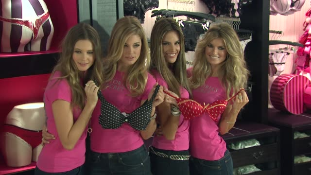 vídeos de stock, filmes e b-roll de behati prinsloo doutzen kroes alessandra ambrosio and marisa miller at the holiday shopping event at the new victoria's secret soho store at new york... - alessandra ambrosio