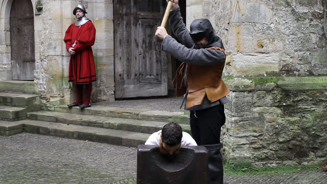 beheading outside of castle - tudor era reenactment - decapitated stock videos & royalty-free footage