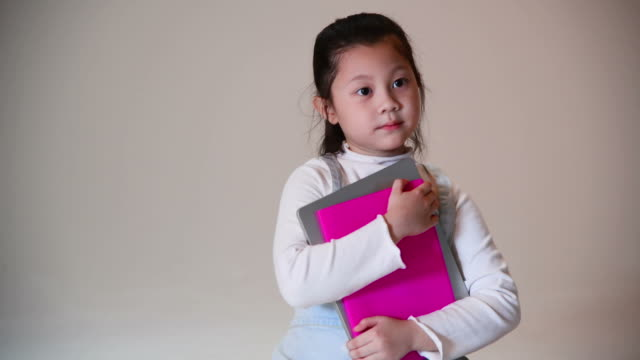 behind the scenc of girl take a photo shoot in studio,kids go to school concept - randoseru stock videos & royalty-free footage