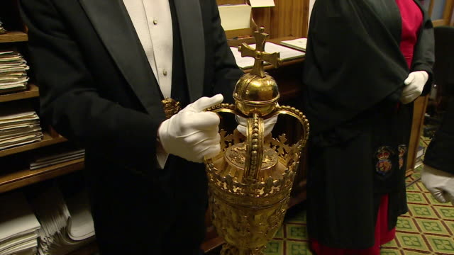 behind the scene shots in parliament as the speaker john bercow and the ceremonial mace march into the house of commons for the brexit amendment votes - house of commons stock videos & royalty-free footage