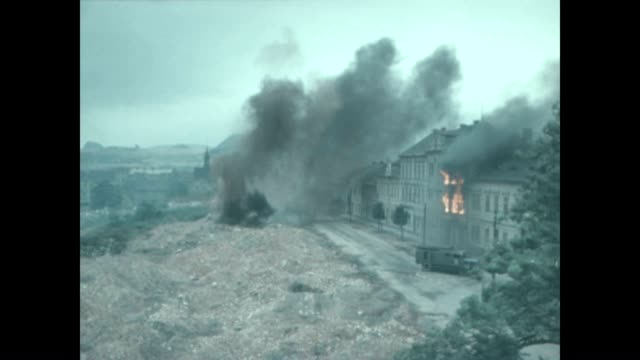 Behind the scenes of explosions and fire from the John Guillermin film The Bridge at Remagen shot on location in Prague
