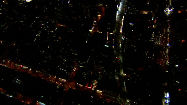 xws behind the towers of time warner center moving over towers columbus circle td moving south over broadway 7th avenue building lights lighting... - broadway manhattan stock videos and b-roll footage