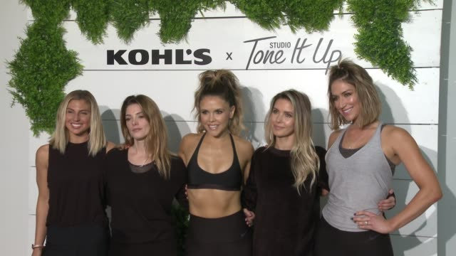 clean behindthescenes at kohl's x studio tone it up workout event at barker hangar in santa monica ca january 13 2018 - kohls stock videos & royalty-free footage