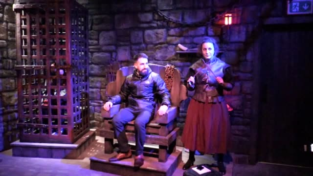 behind-the-scenes look at alton towers' new dungeon attraction ahead of the 2019 season. interview with eddie saul, merlin entertainments. also... - dungeon stock videos & royalty-free footage
