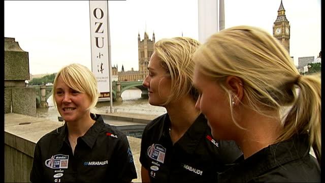 britain's olympic sailing team returns home sarah ayton sarah webb and pippa wilson interview sot - sailing team stock videos & royalty-free footage
