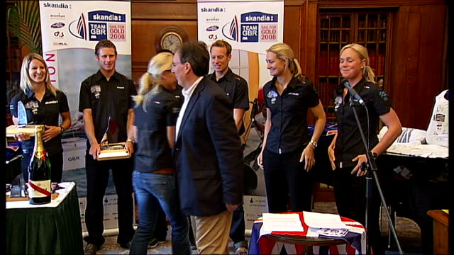 britain's olympic sailing team returns home england london westminster bridge road mariott hotel photography * * bryony shaw presented with model of... - sailing team stock videos & royalty-free footage