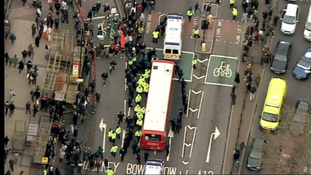 beijing 2008 olympic games: london torch procession disrupted by tibet protesters: air views of the olympic torch relay and protests; torch carried... - london docklands stock videos & royalty-free footage