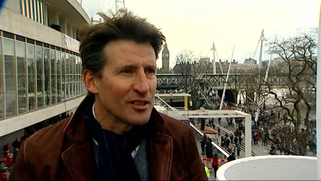 beijing 2008 olympic games: london torch procession disrupted by tibet protesters: vanessa mae with torch/lord coe interview; lord sebastian coe... - 2008年北京夏季オリンピック点の映像素材/bロール