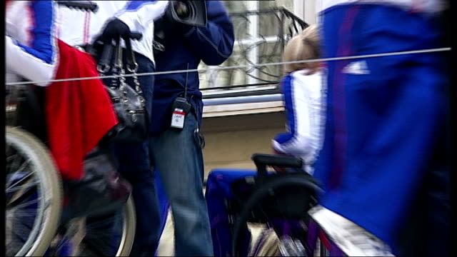 beijing 2008 olympic games: london victory parade compilation; olympians and paralympians waving from float as along past / more of medal winners... - zweiter platz stock-videos und b-roll-filmmaterial