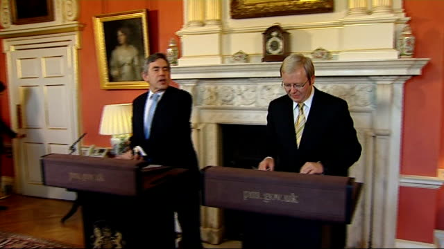 Paris torch procession disrupted London Downing Street INT Gordon Brown MP and Kevin Rudd into press conference room Kevin Rudd press conference SOT...