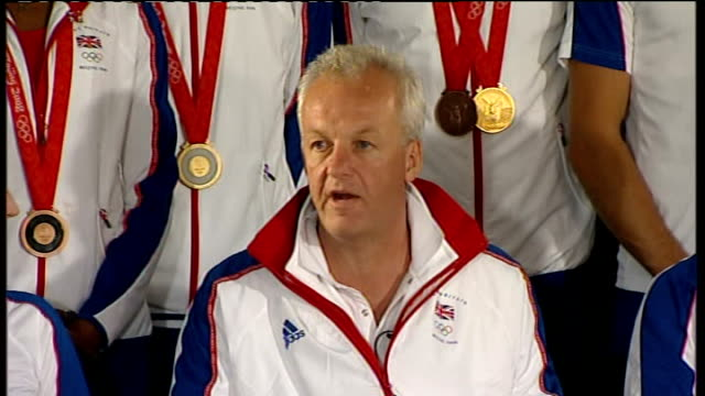 beijing 2008 olympic games: team gb return to britain: press conference; lord colin moynihan press conference sot - we're very grateful to the... - 2008年北京夏季オリンピック点の映像素材/bロール
