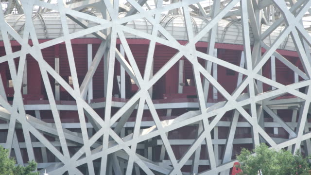 beijing bird nest stadium in summer - bird's nest stock videos & royalty-free footage