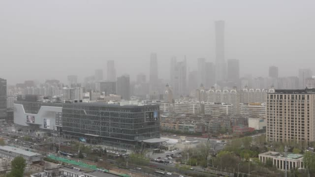 Beijing Business District in Dust, China